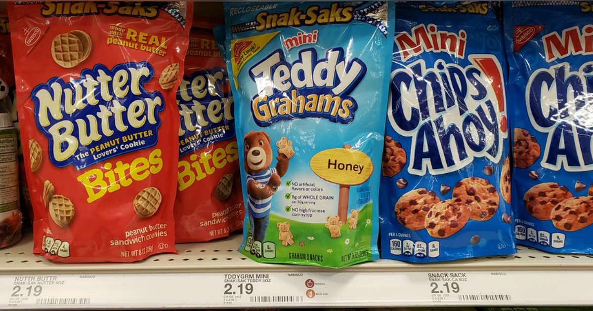 bags of mini nutter butters, teddy grahams and chips ahoy on a store shelf