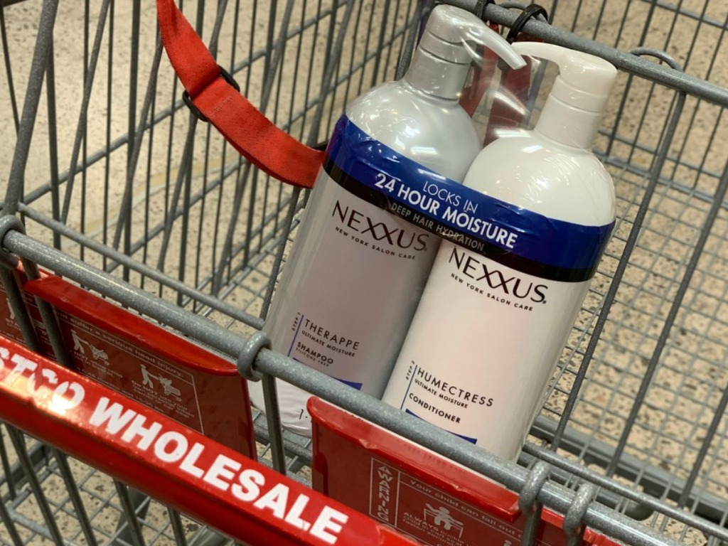 bottle of shampoo and conditioner in a grocery cart