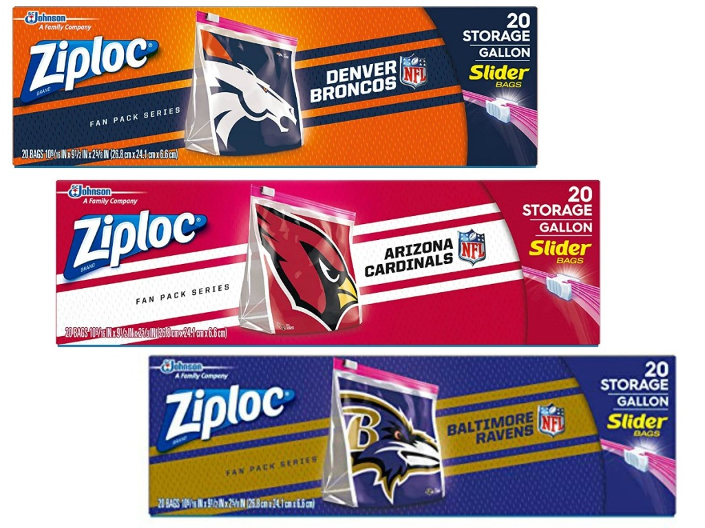boxes of Ziploc bags with NFL teams on them