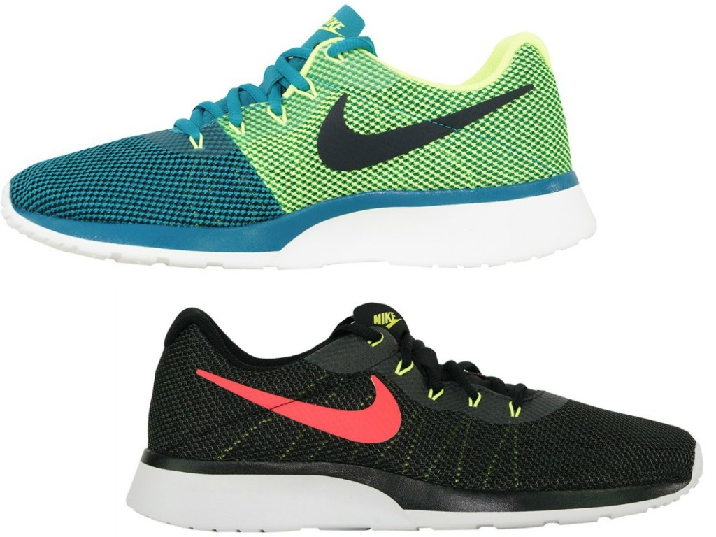 blue/green shoe and black shoe with pink nike logo