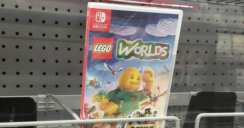 nintendo switch lego worlds video game on store shelf