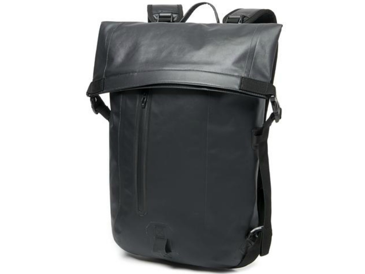 tall and shiny black backpack