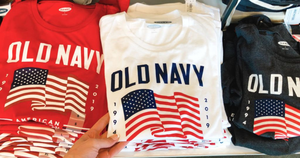 red, white, and blue old navy flag tees in store