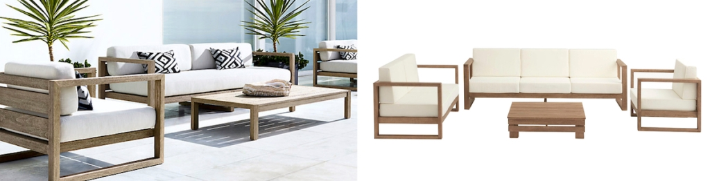 side by side of wood and white outdoor sets