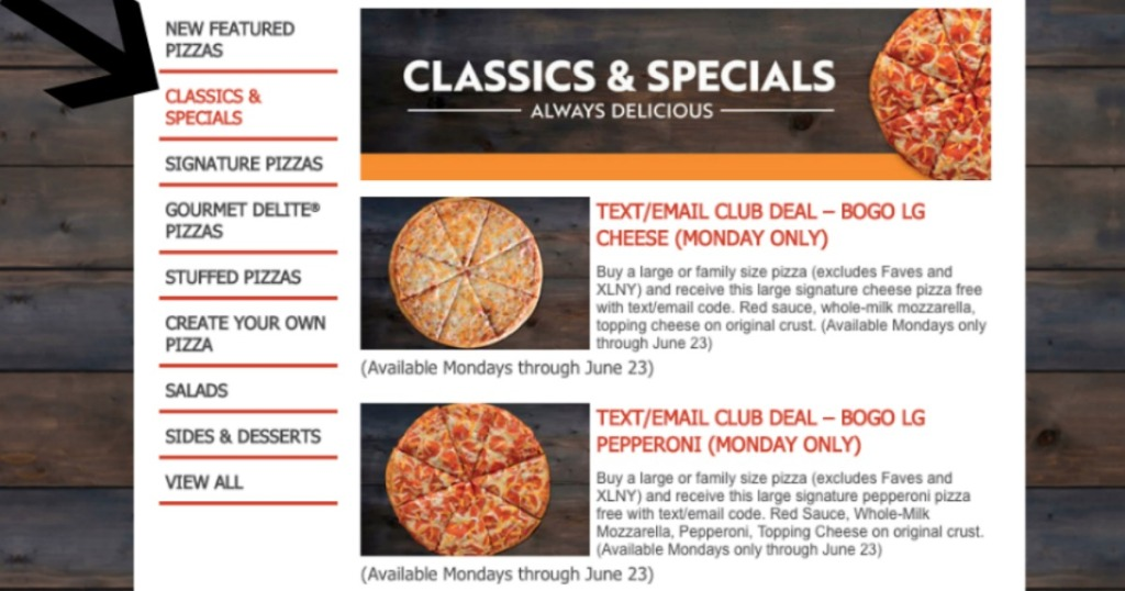 papa johns classics and specials web page with arrow pointing to classics and specials on the side