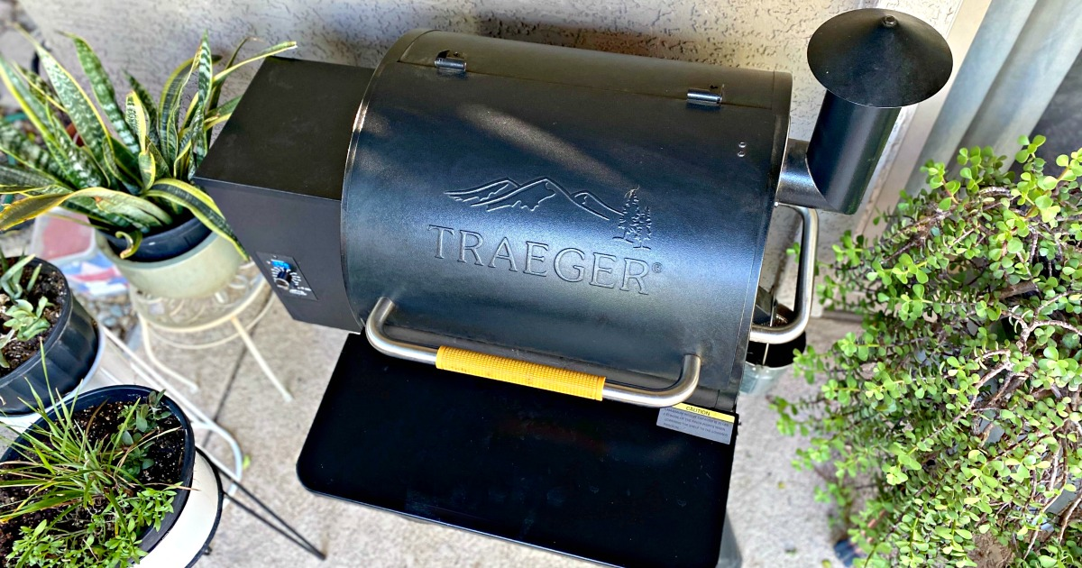patio with a Traeger Smoker