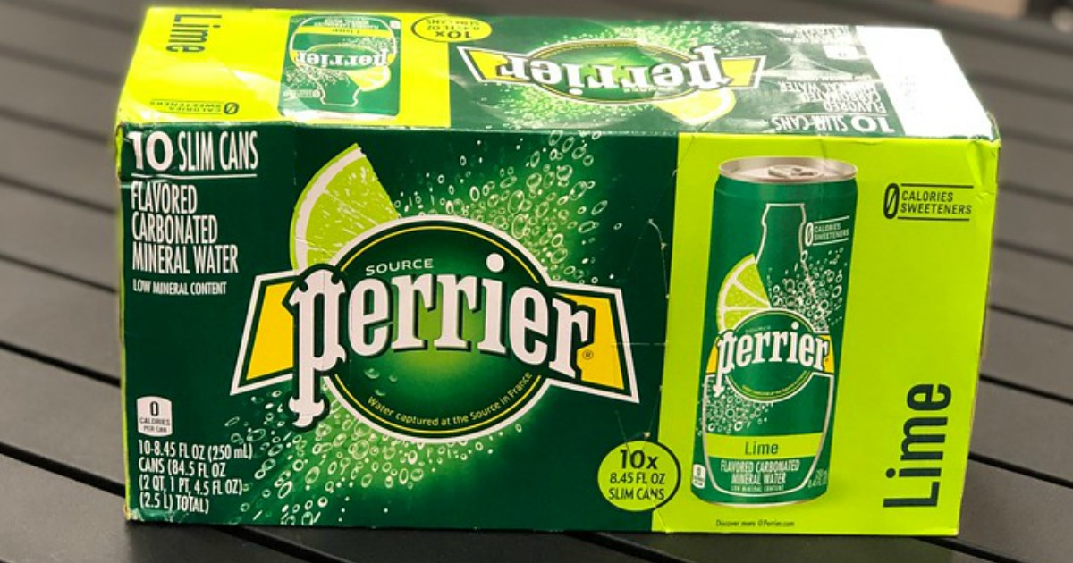 case of 10 perrier slim cans in lime on a table