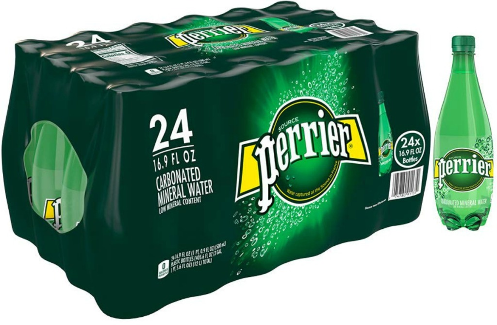24 pack of perrier mineral water with a water bottle next to it
