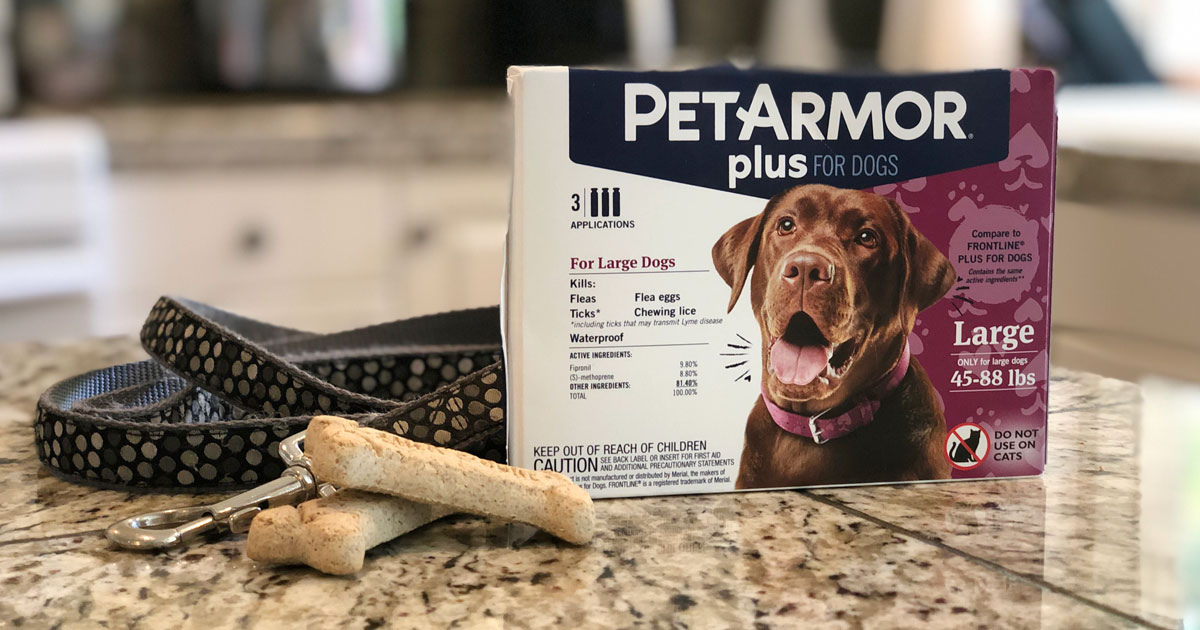 Pet Armor Plus for Dogs with dog treats and leash