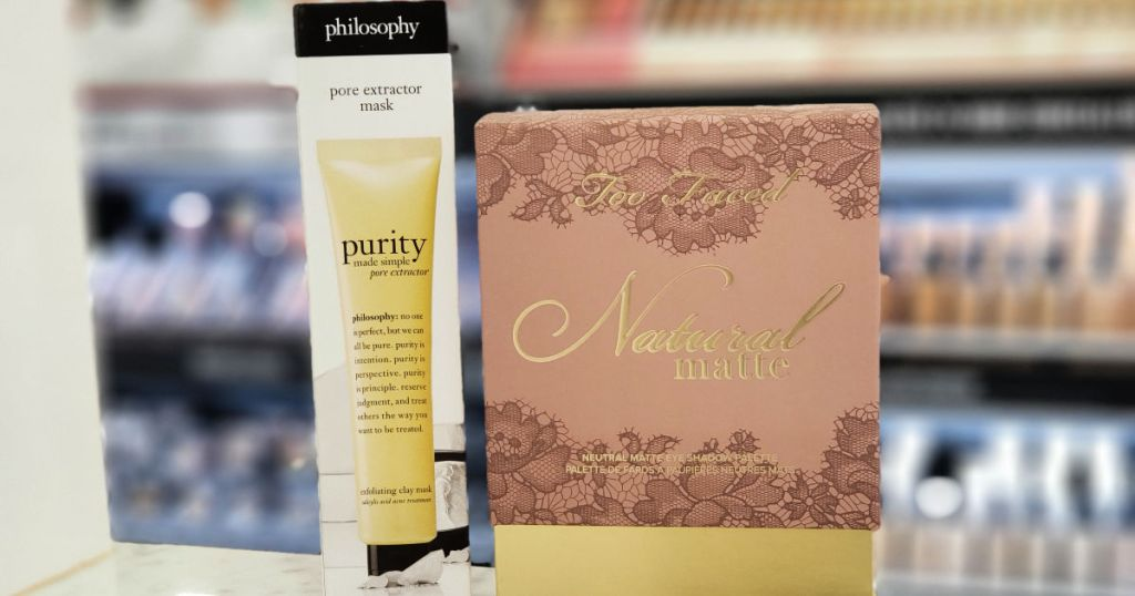 philosophy purity and Too Faced Natural Matte Eye Shadow Palette on shelf in macy's
