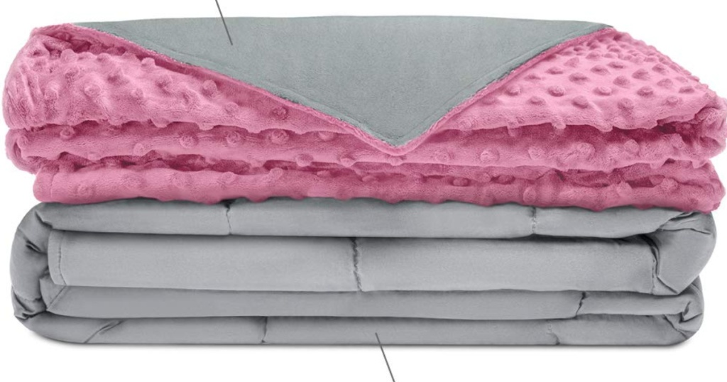 pink and grey cotton and minky weighted blanket