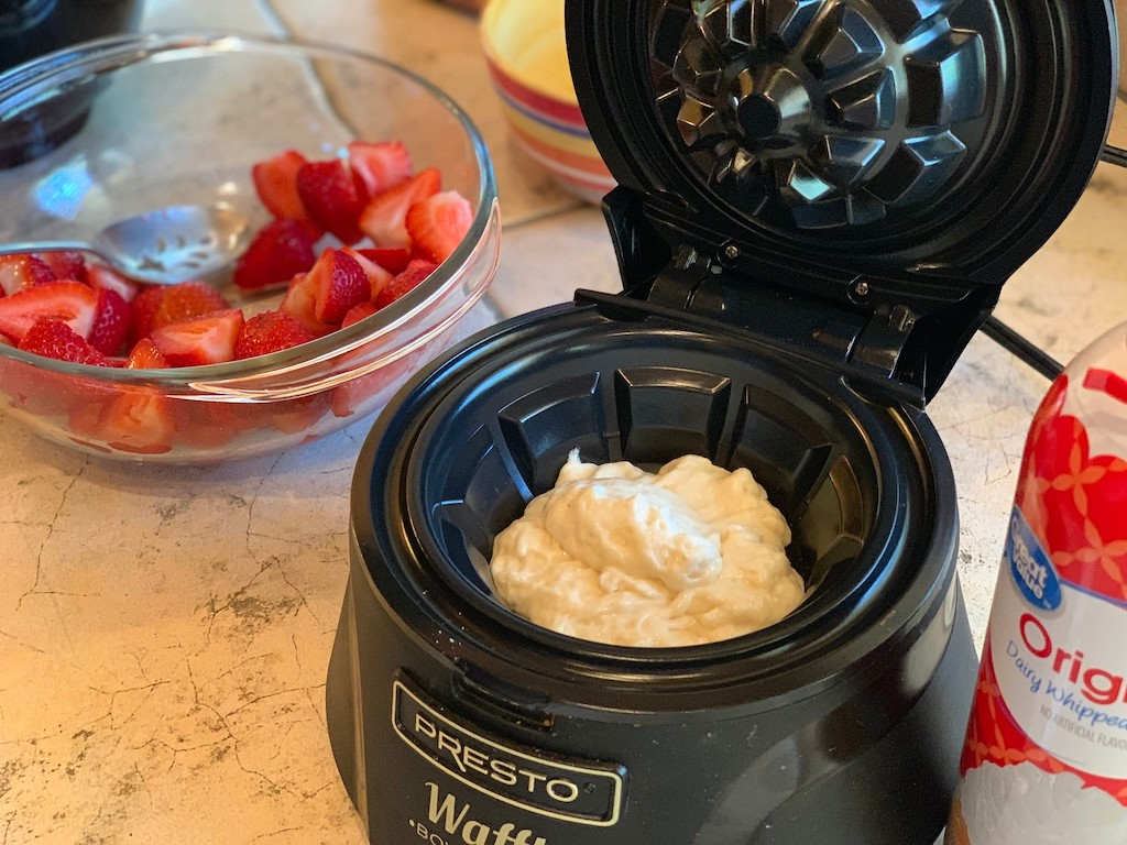 Presto waffle bowl maker with waffle mix inside