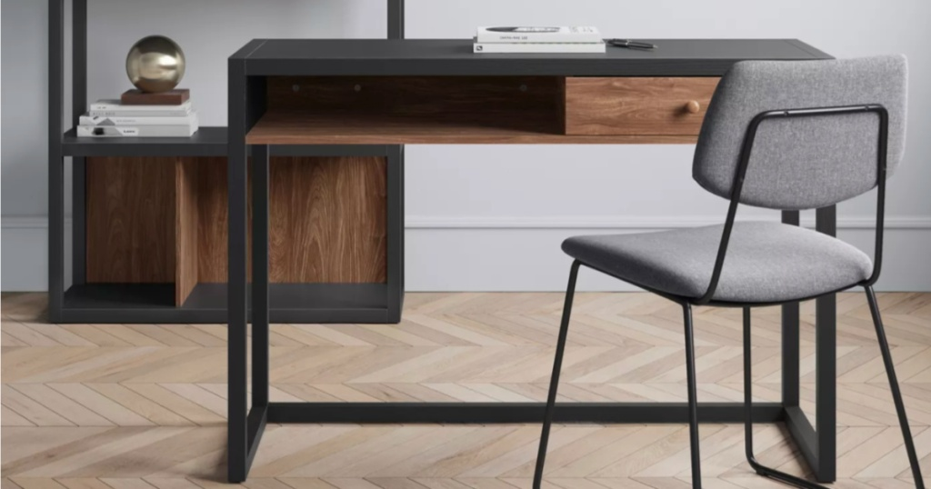 office with project 62 Siebert Desk, grey chair and book shelf