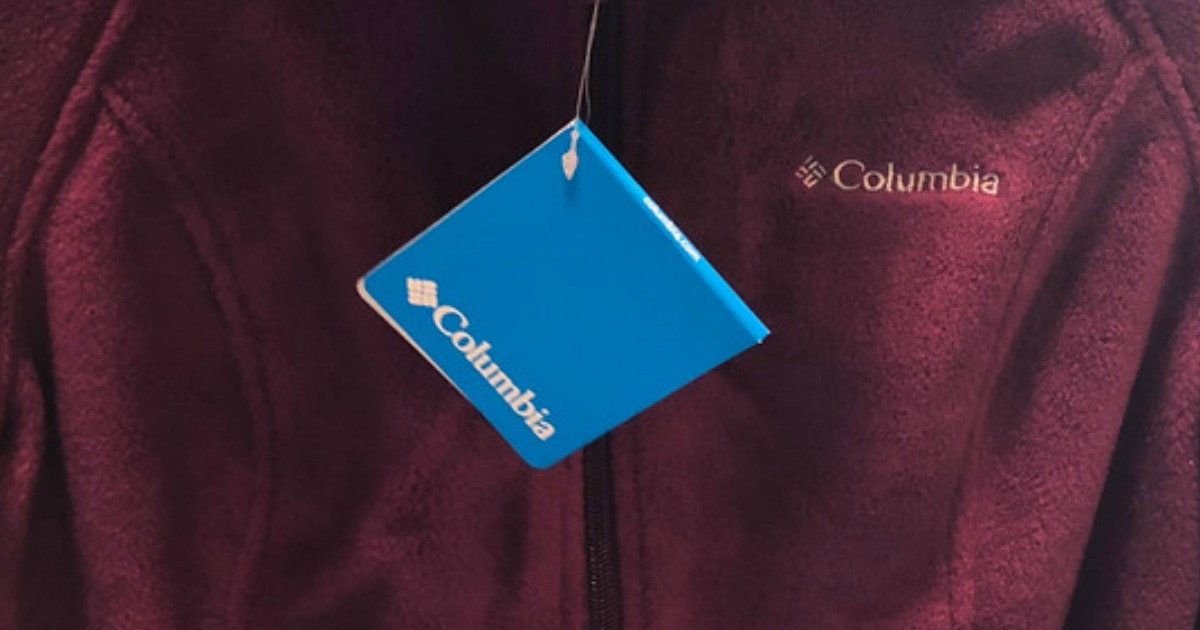 close-up purple columbia jacket and blue price tag
