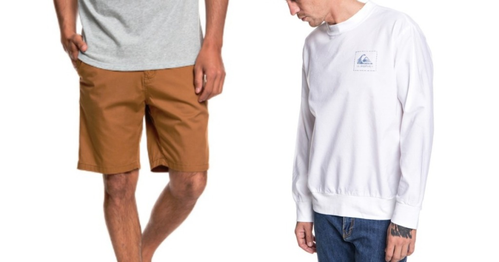 man wearing quiksilver chino shorts and another man wearing quiksilver white shirt with logo