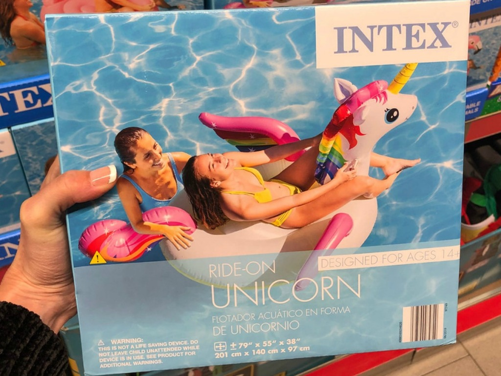 box with pool float with a unicorn and 2 ladies