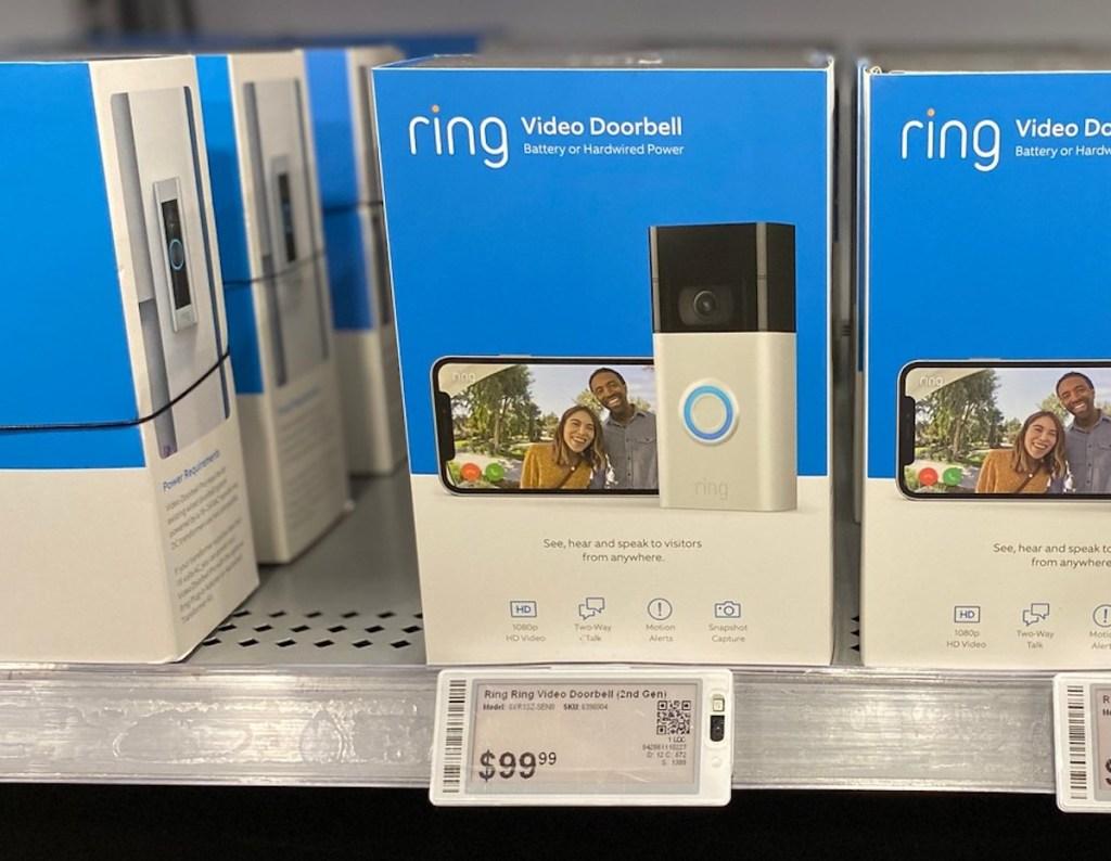 blur ring doorbell box on store shelf