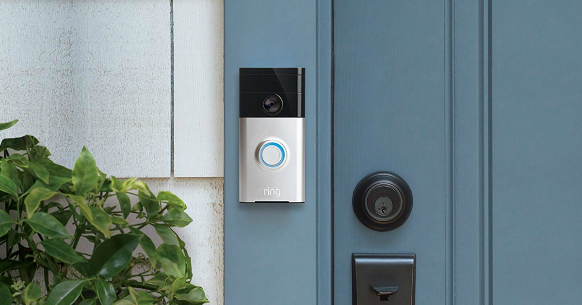 Ring Wi-Fi Enabled Video Doorbell in Satin Nickel on blue door