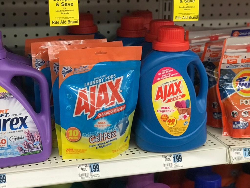 rite aid ajax laundry detergent on shelf