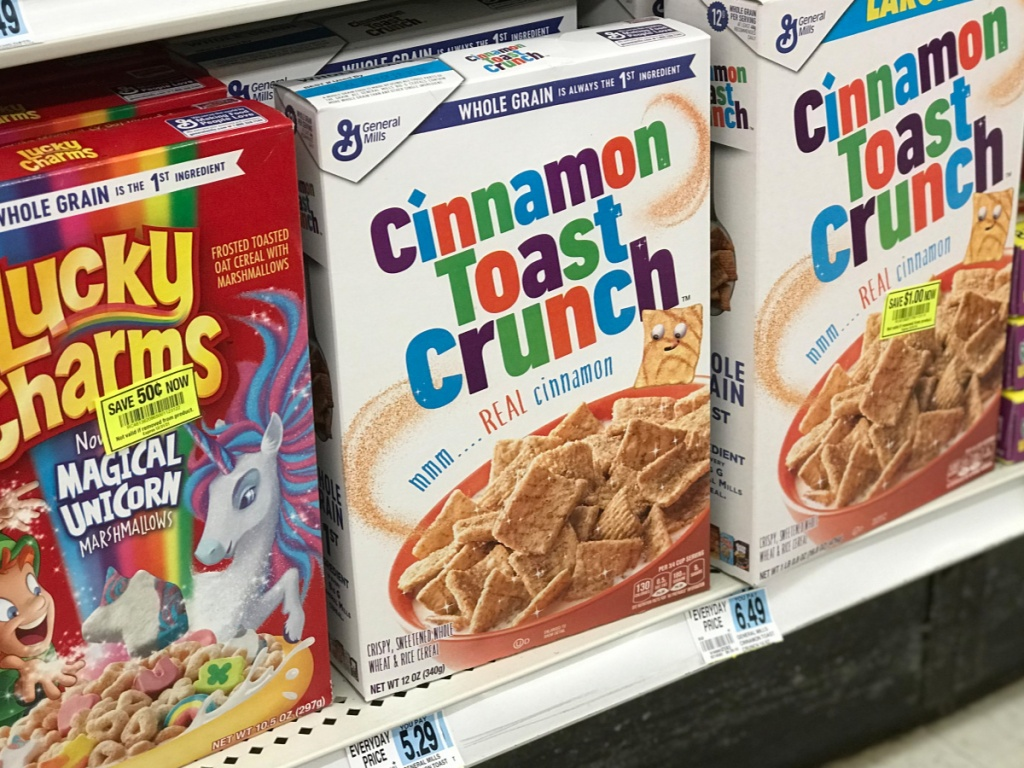 boxes of cinnamon toast crunch on rite aid shelf