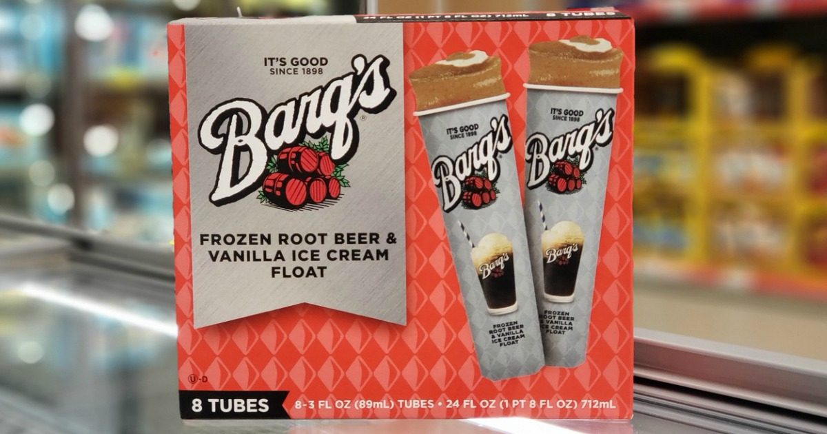 box of barq's frozen root beer float tubes in store