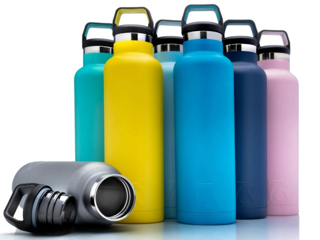 colorful water bottles next to each other