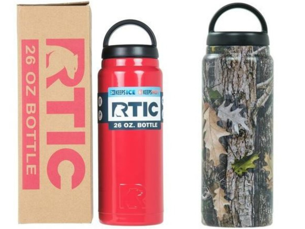 red water bottle next to box and camoflauge water bottle