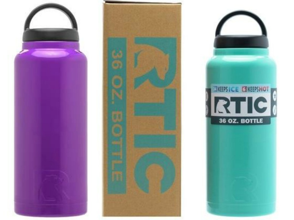 purple water bottle next to box and teal water bottle with lids