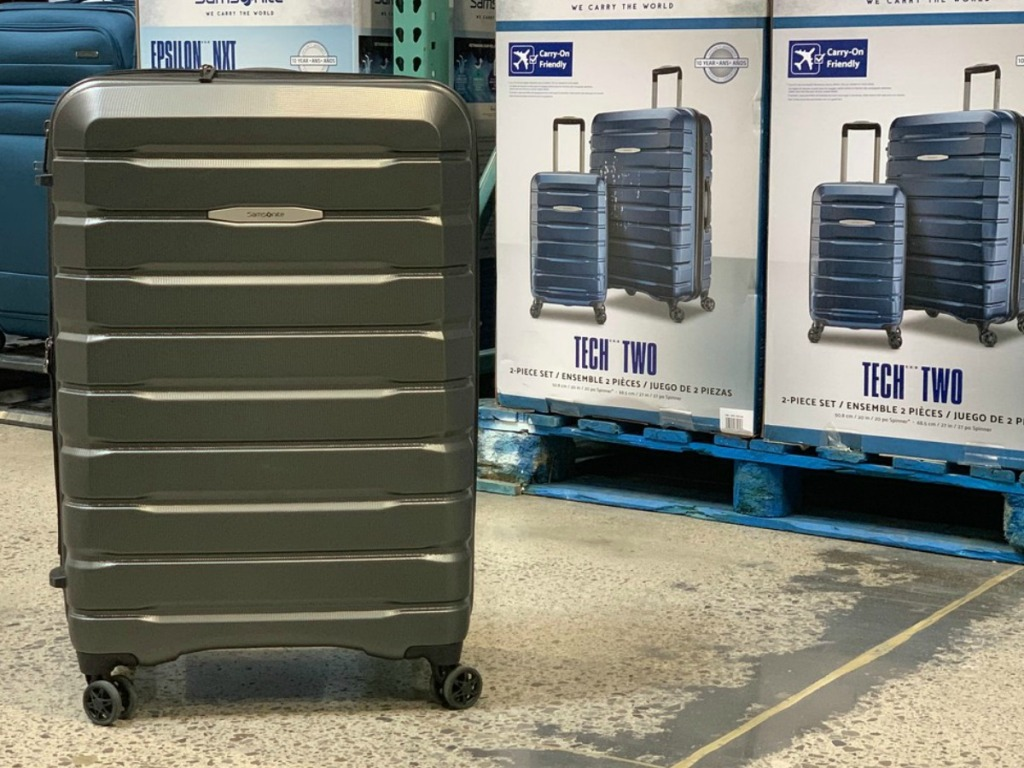 luggage on wheels in store and in boxes