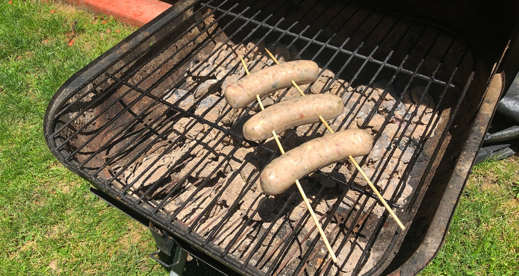 sausage skewers on the grill