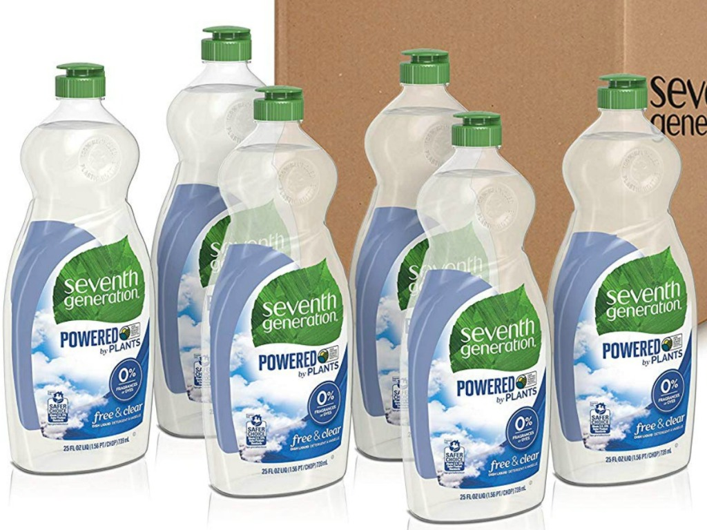 six bottles of dishsoap in front of a box