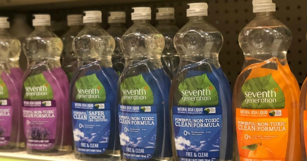several bottles of dish soap on store shelf