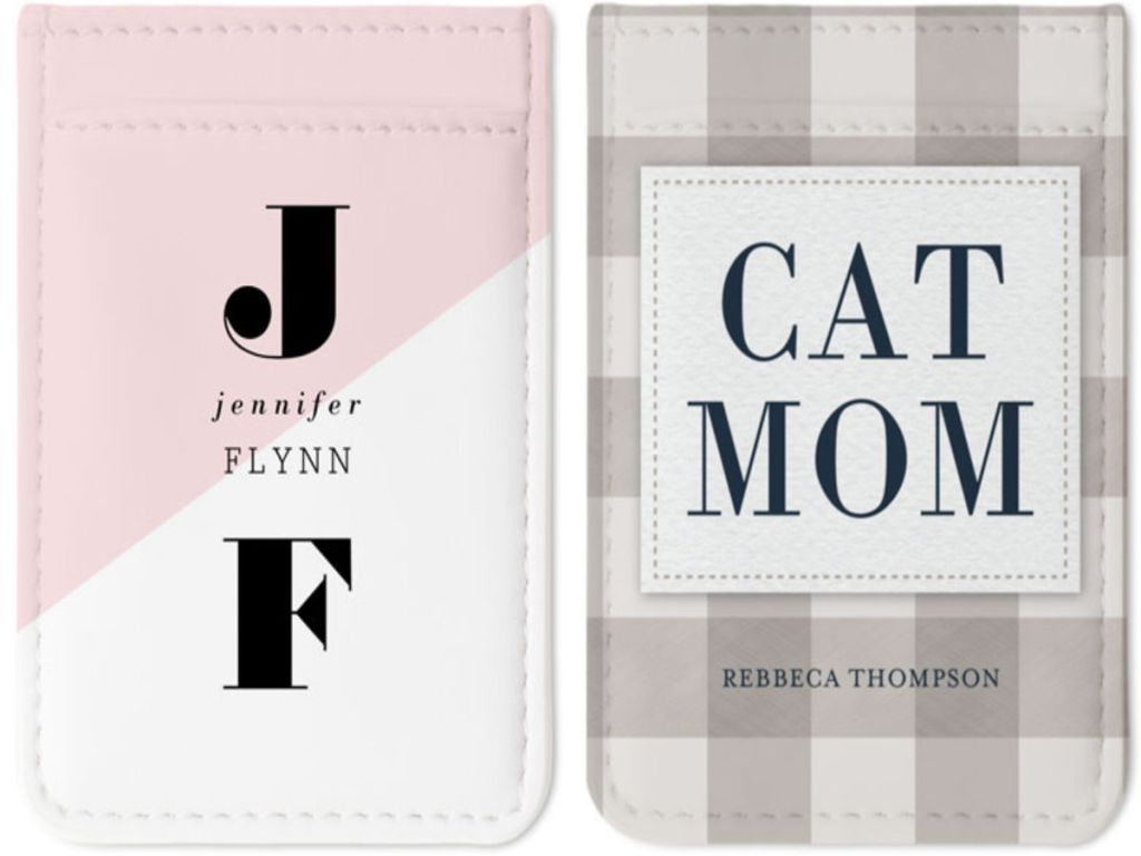 custom photo card holder with initials and cat mom