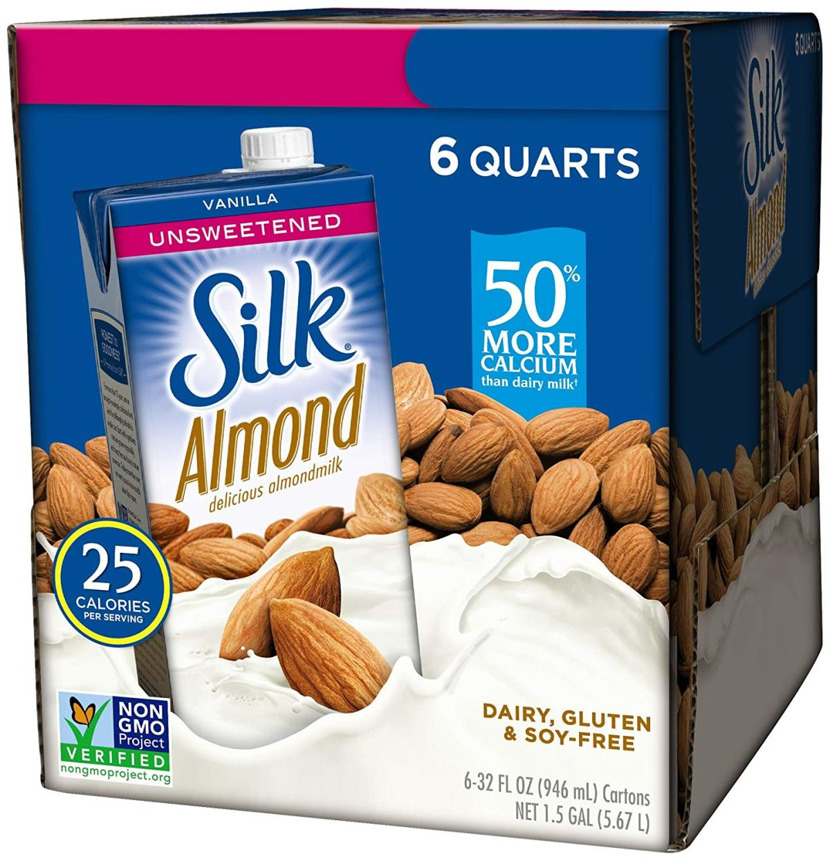 6-pack of Unsweetened Silk Almond Milk in box