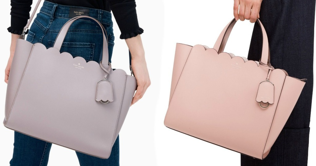 two ladies holding Kate Spade purses - one pink and one purple