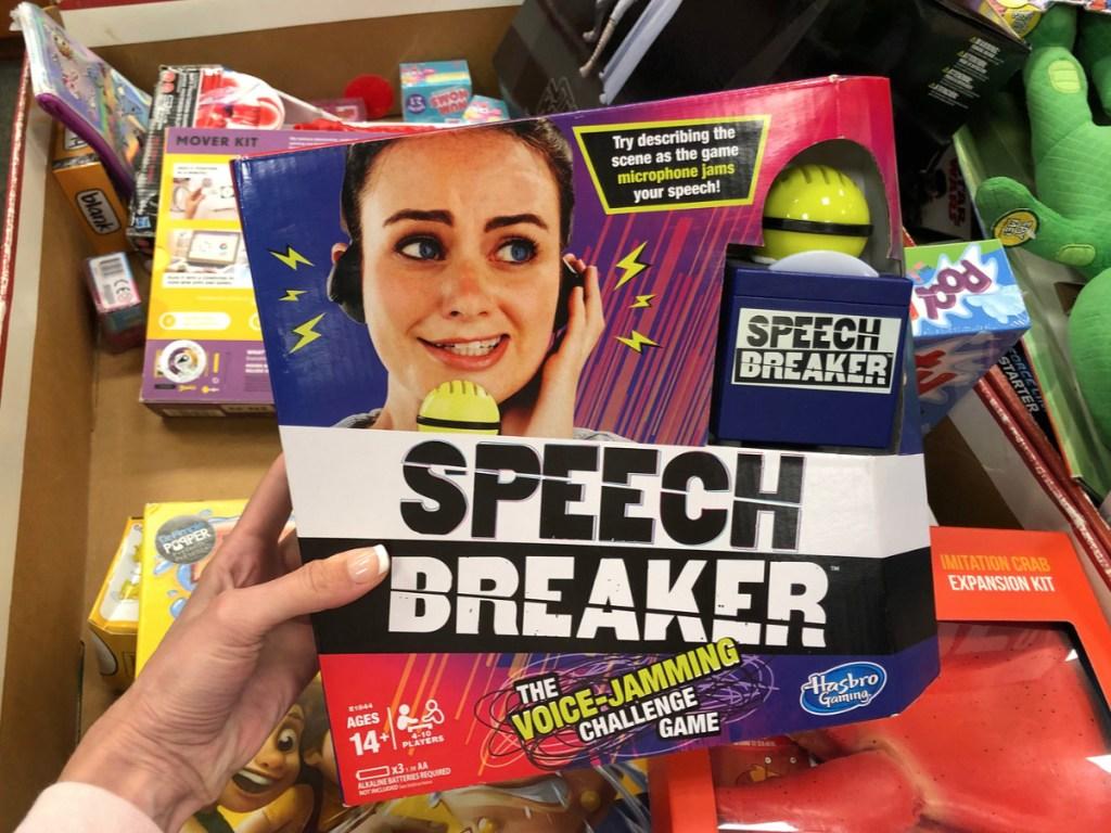 Hand holding Speech Breaker Game