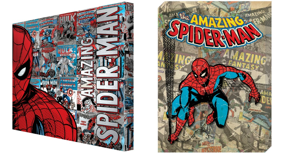two spiderman canvases