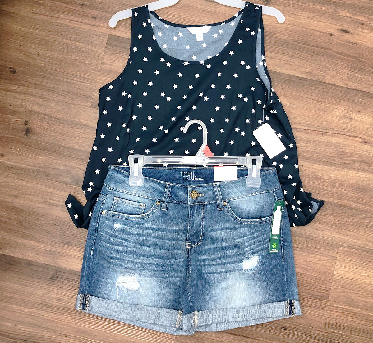 walmart outfit with blue and white star tank and jean shorts