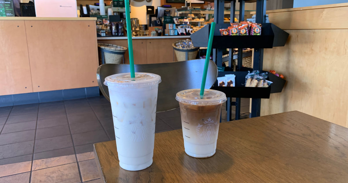 starbucks iced tea and ice coffee next to each other at starbucks