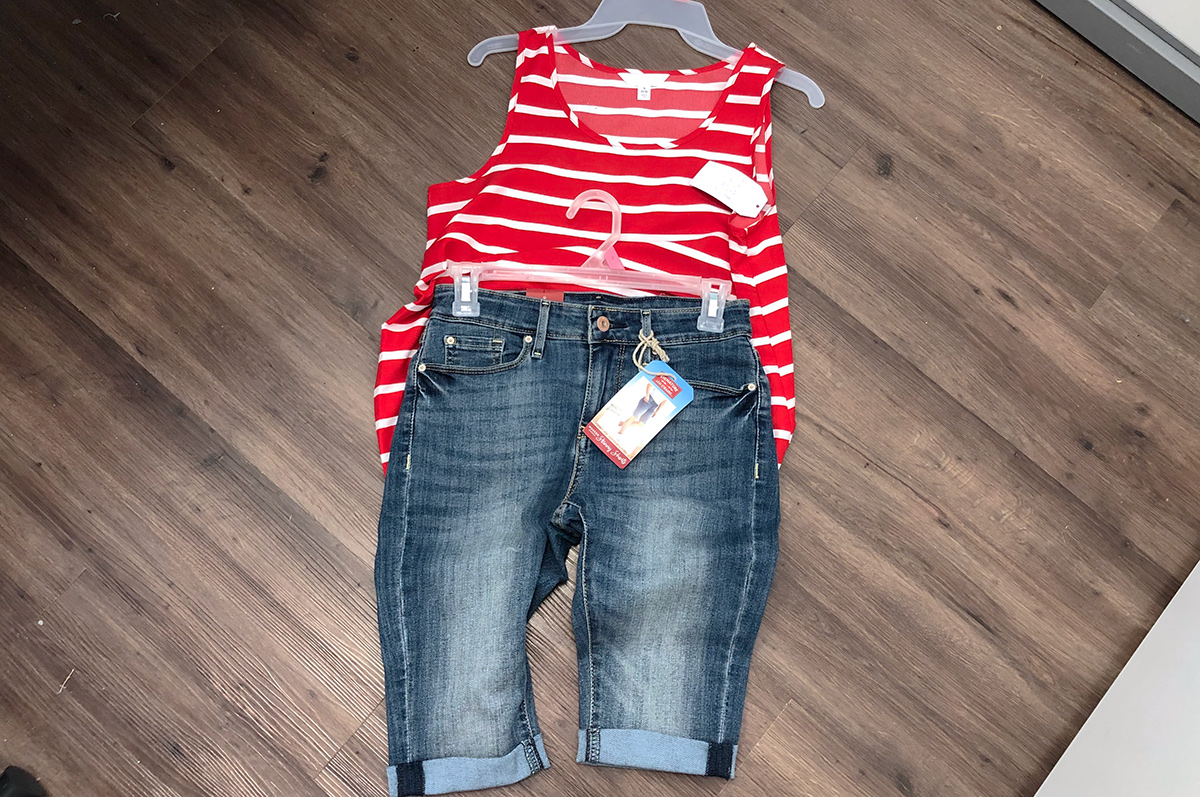 walmart red, white, and blue outfit with striped tank and jean shorts
