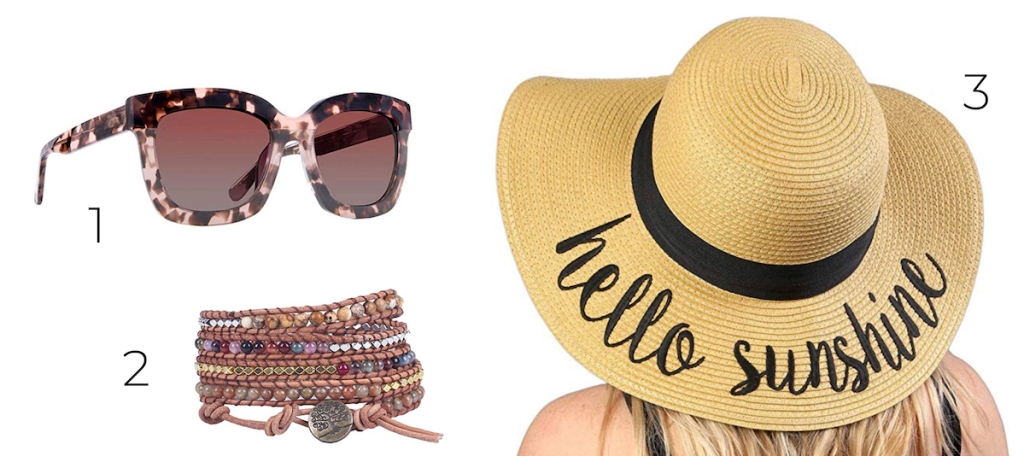 numbered stock photos of sunglasses bracelet and floppy beach hat with white background