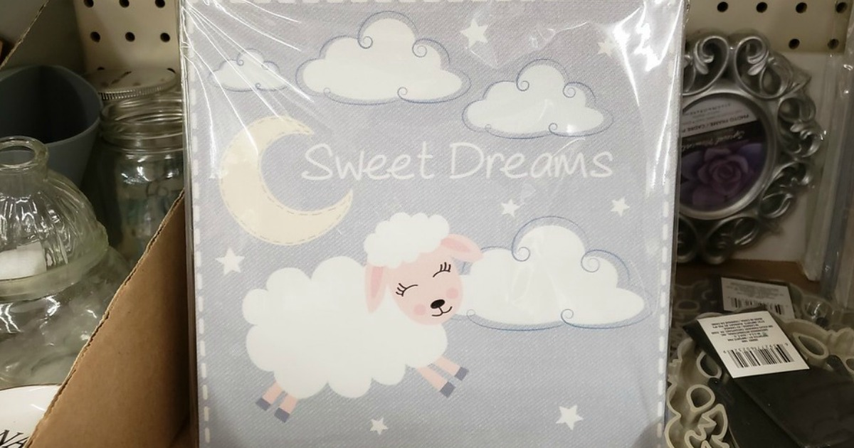 square wall art with sweet dreams, clouds, a moon and lamb