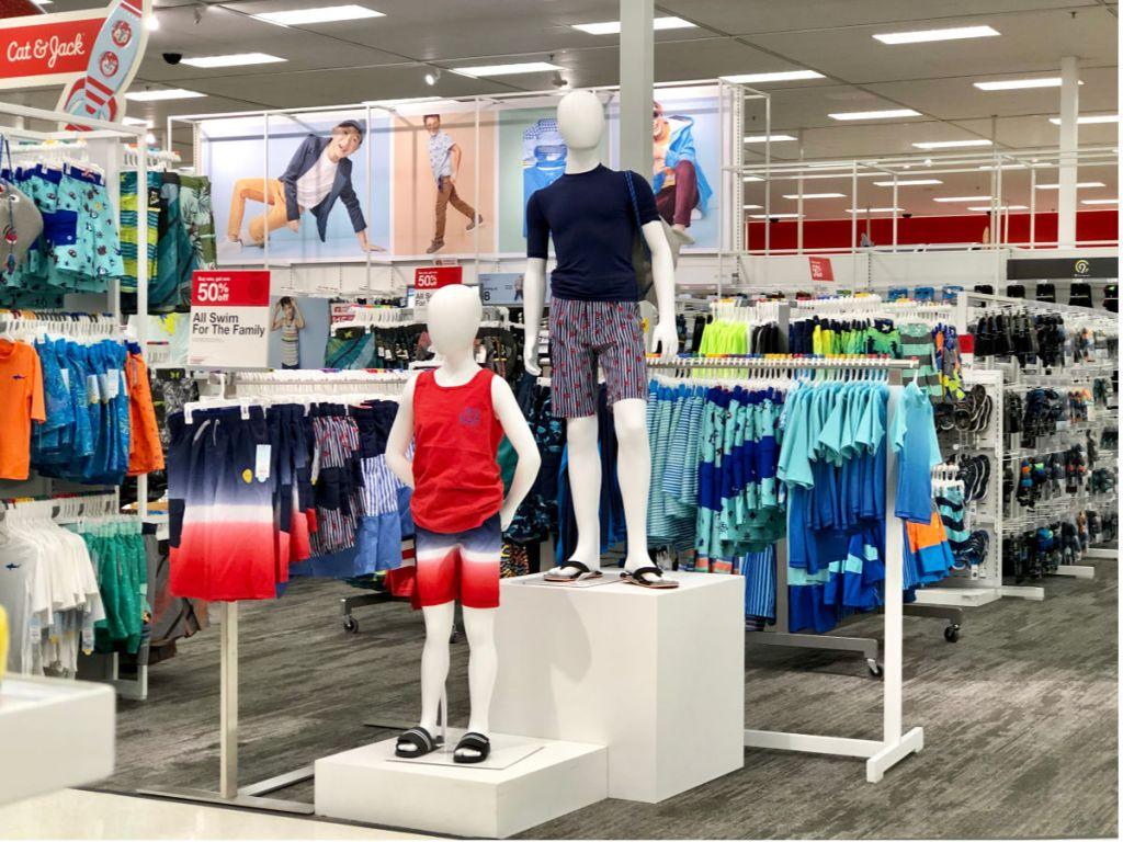 target mannequins wearing boys swimwear
