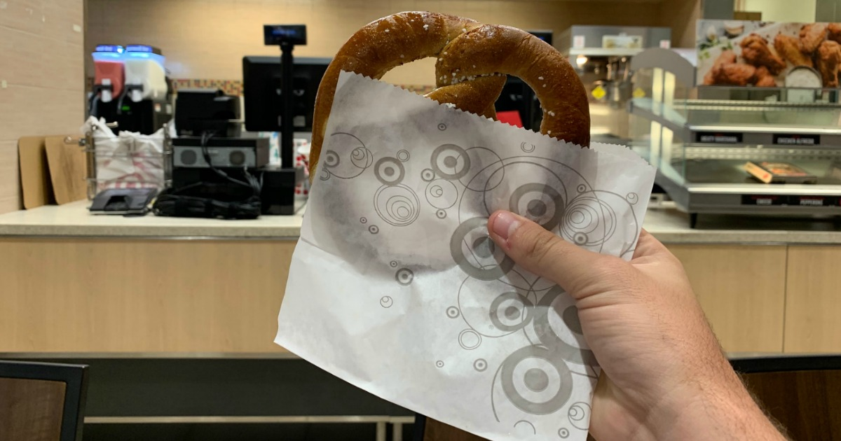 hand holding target cafe pretzel