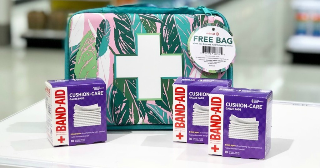 justina blakeney target-exclusive first aid bag and band-aid small gauze pads on counter