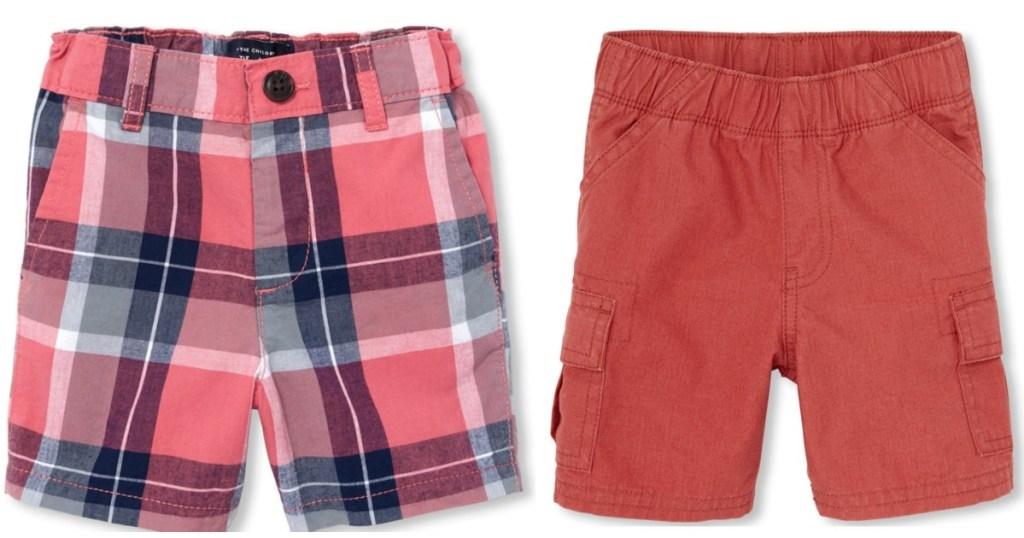 plaid shorts and burnt orange shorts
