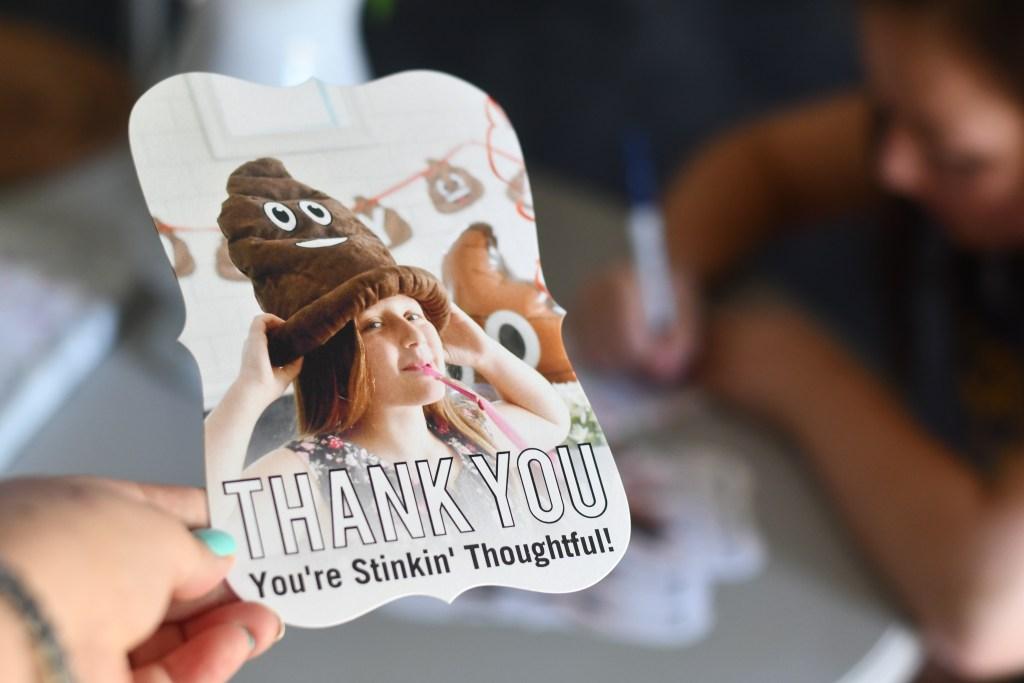poop emoji thank you card