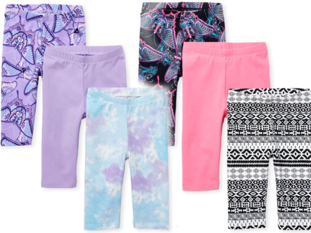 the childrens place 3 piece legging set including butterflys, purple, tie die, pink and aztec