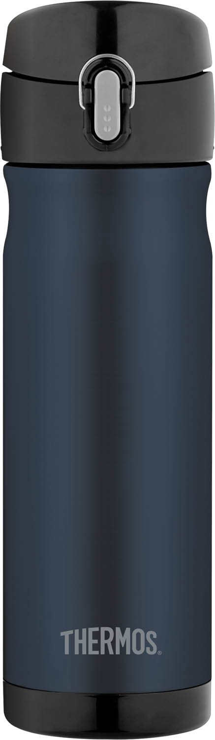 blue thermos bottle