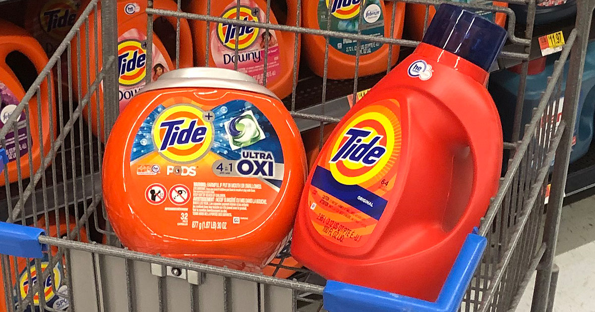 Tide PODS and Liquid detergent in Walmart shopping cart